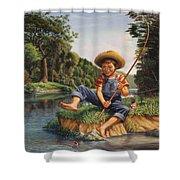 Boy Fishing In River Landscape - Childhood Memories - Flashback - Folkart - Nostalgic - Walt Curlee Shower Curtain