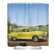 Studebaker Champion Antique Americana Nostagic Rustic Rural Farm Country Auto Car Painting Shower Curtain