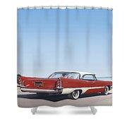 1957 De Soto Car Nostalgic Rustic Americana Antique Car Painting Red  Shower Curtain
