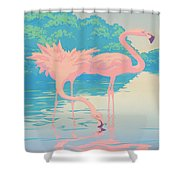 abstract Pink Flamingos retro pop art nouveau tropical bird 80s 1980s florida painting print Shower Curtain