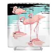 Pink Flamingos Tropical 1980s Abstract Pop Art Nouveau Graphic Art Retro Stylized Florida Print Shower Curtain