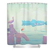 Abstract Pelicans Tropical Florida Seascape Sailboats Large Pop Art Nouveau 1980s Stylized Painting Shower Curtain