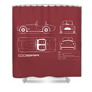 Ac Cobra Blueprint - Red Shower Curtain