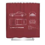 Aston Martin V8 Vantage Blueprint - Red Shower Curtain