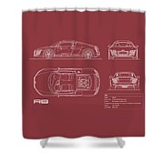 Audi R8 Blueprint - Red Shower Curtain