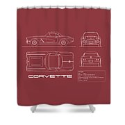 Corvette C1 Blueprint - Red Shower Curtain