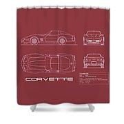 Corvette C3 Blueprint - Red Shower Curtain