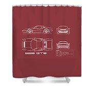 Ferrari 328 Gtb Blueprint - Red Shower Curtain