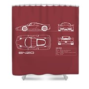 Enzo Ferrari Blueprint - Red Shower Curtain