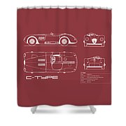 Jaguar C-type Blueprint - Red Shower Curtain