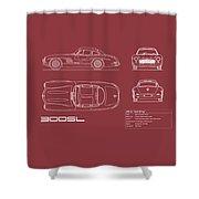Mercedes 300 Sl Blueprint - Red Shower Curtain