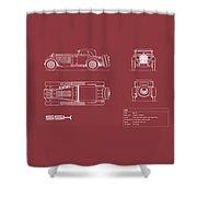 Mercedes Ssk Blueprint - Red Shower Curtain