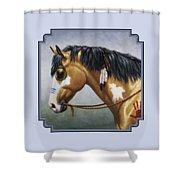 Buckskin Native American War Horse Shower Curtain