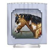 Buckskin Native American War Horse Shower Curtain by Crista Forest