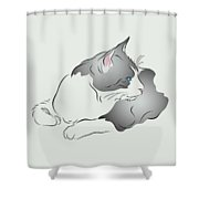 Grey And White Cat In Profile Graphic Shower Curtain