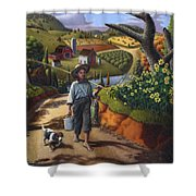 Boy And Dog Farm Landscape - Flashback - Childhood Memories - Americana - Painting - Walt Curlee Shower Curtain