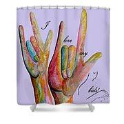 Asl I Love My Kids Shower Curtain
