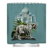 White Tiger And The Taj Mahal Image Of Beauty Shower Curtain