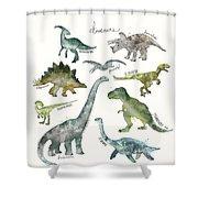 Dinosaurs Shower Curtain by Amy Hamilton