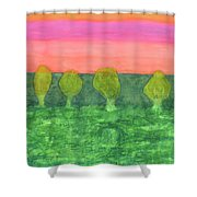 Trees, Green And Evening Sky Shower Curtain