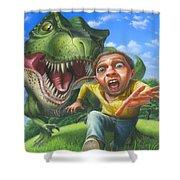 Tyrannosaurus Rex Jurassic Park Dinosaur - T Rex - Paleoart- Fantasy - Extinct Predator Shower Curtain