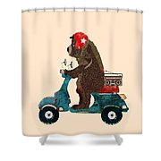 Scooter Bear Shower Curtain by Bri Buckley