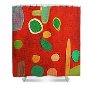 Scattered Things Over Red  Shower Curtain