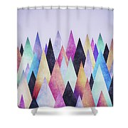Colorful Abstract Geometric Triangle Peak Woods  Shower Curtain