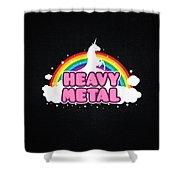 Heavy Metal Funny Unicorn  Rainbow Mosh Parody Design Shower Curtain