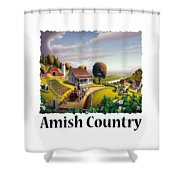 Amish Country - Appalachian Blackberry Patch Country Farm Landscape 2 Shower Curtain