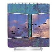 Flying Across Shower Curtain