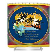 Surfing Waves Of Abstract Art By Omashte Shower Curtain