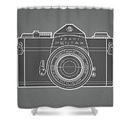 Asahi Pentax 35mm Analog Slr Camera Line Art Graphic White Outline Shower Curtain