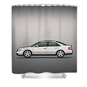 Audi A4 Quattro B5 Type 8d Sedan White Shower Curtain