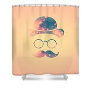 Retro Face With Moustache And Glasses  Universe  Galaxy Hipster In Gold Shower Curtain