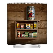 Wall Spice Rack - Americana Kitchen Art Decor - Vintage Spice Cans Tins - Nostalgic Spice Rack Shower Curtain