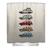 Stack Of Toyota Tercel Sr5 4wd Al25 Wagons Shower Curtain