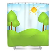 Playful Kid's Spring Backdrop Shower Curtain