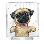 Cute Pug Puppy Shower Curtain