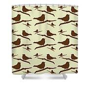 Brown Bird Silhouette Modern Bird Art Shower Curtain