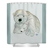 Cuddly Polar Bear Watercolor Shower Curtain