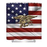 U.s. Navy Seals Trident Over U.s. Flag Shower Curtain