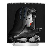 Mystic Woman With Raven Shower Curtain