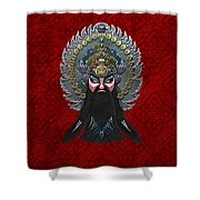 Chinese Masks - Large Masks Series - The Emperor Shower Curtain by Serge Averbukh