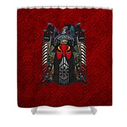 Chinese Masks - Large Masks Series - The Red Face Shower Curtain by Serge Averbukh