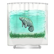 Mossy Manatee Shower Curtain