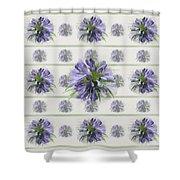 Blue Purple Flowers Shower Curtain