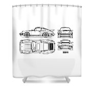 The 911 Turbo Blueprint Shower Curtain