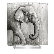 Elephant Watercolor Shower Curtain