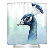 Peacock Watercolor Shower Curtain